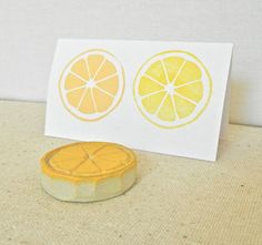 Lemon Citrus Circle Hand Carved Rubber Stamp by creatiate on Etsy