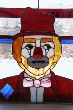 Vintage CLOWN Large Stained Glass Panel 18 x 24 by HoardersShop