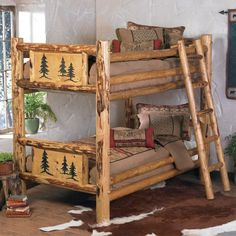 Rocky Mountain Log Bunk Bed - Twin over Twin