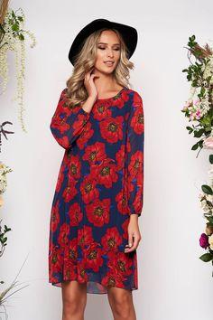 Rochie Rosie Scurta cu decolteu la Baza Gatului si Imprimeu Floral Fit, Floral, Casual, Dresses, Fashion, Vestidos, Moda, Shape, Fashion Styles