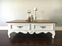 White & Wood Coffee  Table - Custom Order for Heather