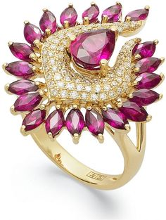 EFFY 14k Gold Ring, Ruby (3-1/8 ct. t.w.) and Diamond (1/3 ct. t.w.) L
