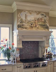 Love This Mural! And Stove Mantel.