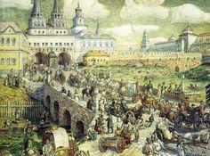 Мосты Красной площади .Здесь показано время, когда Неглинка ещё была на поверхности (напомним, сейчас она под землёй), а вот Ров похоже уже существует без воды.