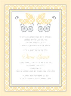 Damask Pram Buttercup Twins Baby Shower Invitations by Noteworthy Collections - Invitation Box