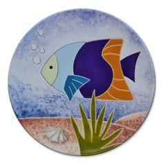 Prato decorativo com imagem de peixes   Ateliê LukaBrasil