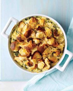 Chicken and Spinach Casserole--double the spices and add mushrooms for flavor! use sourdough bread and mix it in