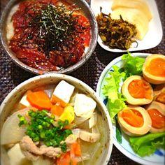 煮卵はもらい物(^o^)/ - 23件のもぐもぐ - 豚汁と漬けマグロ丼 by yossy1206