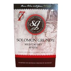 Solomon Grundy Table Wine Kit. Medium Dry White - Make your own wine at home - #homebrew