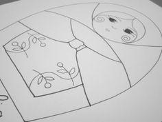 Coralia  patrón digital de matrioska para bordar por Gineceo, $1.99