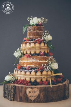 Bride brings you delicious naked cake inspiration with help from London cake company, French Made Wedding Cake Rustic, Wedding Cakes, Fruit Wedding, Wedding Country, Wedding White, Beautiful Cakes, Amazing Cakes, Bolos Naked Cake, Nake Cake