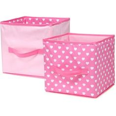Girlie Sweet Dream Collapsible Storage Bin with Hearts Print, Color Pink Set of…