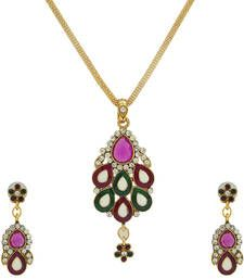 Buy Green and Purple Designer Navratri Sepcial Pendant Set party-jewellery online