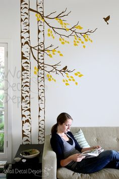 Wall Decal birch tree Wall decal with birds by WallDecalDepot