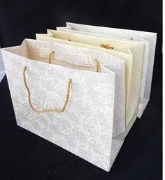 Embossed handmade paper bag for weddings