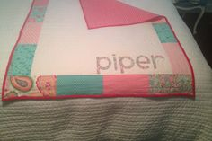 Name baby quilt for Piper