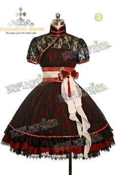 "Gothic Lolita ""Grassland Splendor"" Dress Set. So cute and lacy! Love the bow in the front."