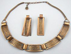 Rebajes Modernist Copper Necklace Set - Garden Party Collection Vintage Jewelry