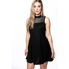 Boohoo Plus Plus Mandy Textured Skater Dress ($35) ❤ liked on Polyvore featuring dresses, black, body con dress, cocktail dresses, black dress, bodycon cocktail dress and evening dresses