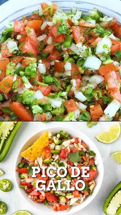 Appetizer Recipes Discover Fresh Pico de Gallo Recipe The ultimate Mexican salsa this easy Pico de Gallo recipe or Roosters Beak Salsa is made with fresh tomato jalapeno onion cilantro and lime juice. Authentic Mexican Recipes, Mexican Salsa Recipes, Mexican Dips, Mexican Salads, Mexican Food Appetizers, Mexican Bowl Recipe, Mexican Tostadas, Mexican Chicken Tacos, Salsa Canning Recipes