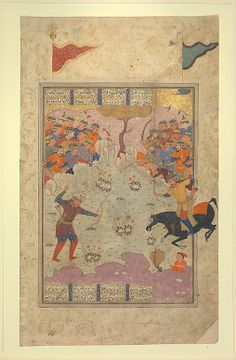 """Rustam Fighting Ashkabus"", Folio from a Shahnama (Book of Kings) Date: 1560–80 Geography: Iran Medium: Opaque watercolor, silver, and gold on paper Dimensions: Page: 14 5/8 x 8 7/8 in. (37.1 x 22.5 cm) Painting: 12 1/2 x 8 in. (31.8 x 20.3 cm) Metropolitan Museum of Art 65.7.4"
