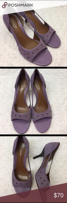 """Ann Taylor Purple Open Toe Studded Sandals Previously loved, beautiful Ann Taylor Sandals. These are perfect for your next wedding, special Spring or Summer event. Heel height is ~ 3.5"""". Ann Taylor Shoes Sandals"""