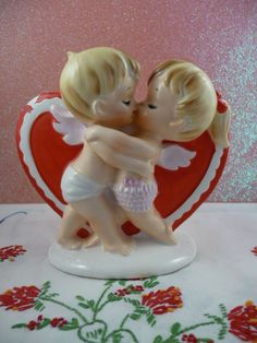 have this figurine Valentine Cupid, My Funny Valentine, Vintage Valentine Cards, Vintage Holiday, Vintage Cards, Happy Valentines Day, Holiday Fun, Holiday Decor, Favorite Holiday