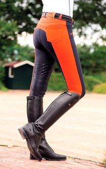 HKM Helsinki Breeches in Mandarin Red & Deep Blue Equestrian Boots, Equestrian Outfits, Equestrian Style, Equestrian Fashion, Riding Gear, Horse Riding, Riding Boots, Riding Clothes, Riding Outfits