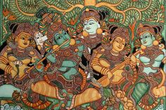 Krishna, Radha and Gopis, some murals in Kerala styl e