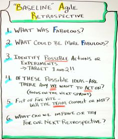 The Real Baseline Agile Retrospective Format - 6 questions. Use it for a retrospective or an assessment tool.
