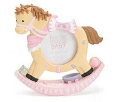 New Burton & Burton Pink Brown Baby Rocking Horse 3x3 Nursery Picture Frame #BurtonBurton