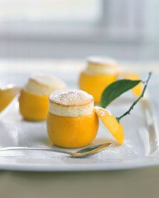 Little Lemon Souffles  Use a melon baller or serrated grapefruit spoon to scoop out the rinds.