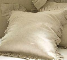 Linen Ruffle Edge Euro Sham, but in white | Pottery Barn