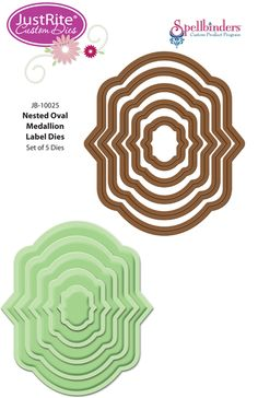 Spellbinders Die for JustRite - Nested Oval Medallion Labels Die, The Stamp Simply Ribbon Store
