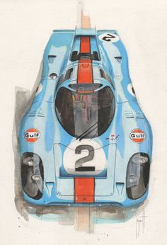 Porsche 917 by Emmanuel Mergault. The 917 inspired the Scalfaro LM917 Hans Mezger Watch Edition – the Air-Cooled Chronograph #917 #mezger #hans #mans #sarthe #kh #lh #917k #917kh #917l #917lh #1971 #1970 #air-cooled #luftgekuehlt #scalfaro #cars #watch #wristwatch #legend #icon #edition #limited #swiss  See www.scalfaro.com/lm917/ for more details on the Scalfaro LM917 Hans Mezger Watch Edition