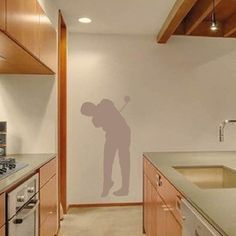 Golfer Wall Art Design- Decorate your office, bedroom, living room with Golfer Wall Decal. Show off your favorite sport with this design. This design Sports Wall Decals, Vinyl Wall Decals, Wall Art Designs, Wall Design, Living Spaces, Living Room, All The Colors, Bedroom, Interior