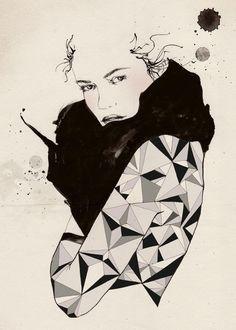 Black diamond 5x7, 2010 - Print Print of an original ink & gouache illustration. The image measures approx. 5 x 7 plus a white border for
