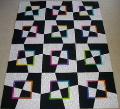 Mad as a Hatter - (wonky blocks) Modern Quilt quiltingboard.com   Tutorial on www.messygoat.com