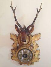 FuNkY kitsch VINTAGE - DEER trophy HEAD wall hanging barometer - faux taxidermy