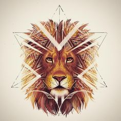 Lion Art - Geometric tribal lion