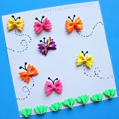 Make bow-tie noodle butterflies for a kids craft! Perfect for a summer art project.