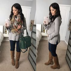 Maternity Casual Winter Look: Grey Bell Sleeved Shirt + Blanket Scarf + Skinnies. - Maternity Casual Winter Look: Grey Bell Sleeved Shirt + Blanket Scarf + Skinnies + Boots - Casual Maternity Outfits, Maternity Work Clothes, Stylish Maternity, Casual Winter Outfits, Maternity Wear, Fall Pregnancy Outfits, Outfit Winter, Fall Maternity Fashion, Maternity Business Casual