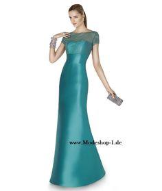 Schlichtes Abendkleid in Blau mit Rundhals Ausschnitt