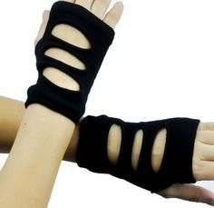 Black Cut Out Style Fingerless Gloves. A great addition to any collection for that right look. Adult Unisex Gloves. One Size Fits Most. These are a very deathro
