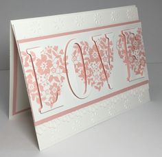 handmade love/Valentine card: Bloomin' Love by razldazl  ... eclipse card format ... die cut LOVE hidden with stamped floral hearts ... Stampin' Up!