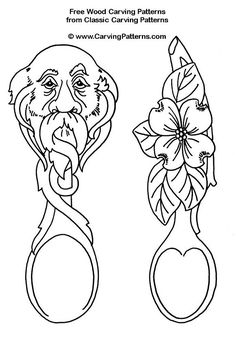 .face and flower spoons - free wood carving patterns