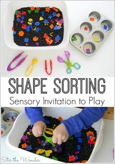 Shape Sorting Sensory Invitation to Play incorporates early math skills, fine motor skills and tactile sensory input in one fun activity! Learning Shapes for Toddlers Preschool Learning, Toddler Preschool, Toddler Activities, Learning Activities, Preschool Shapes, Maths For Toddlers, Early Learning, Sensory Tubs, Sensory Boxes