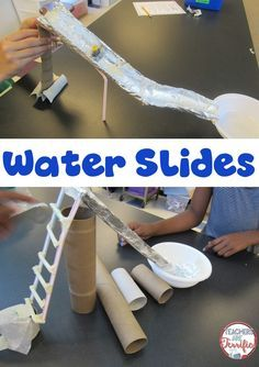 What a fabulous STEM project for summertime or back to school time or any time! Kids are building water slides and testing them!