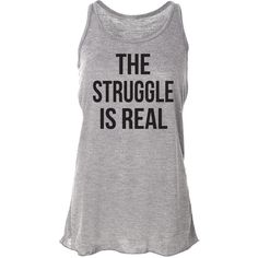 The Struggle Is Real Running Tank Top Fitness Tank Workout Tank Yoga... ($24) ❤ liked on Polyvore featuring activewear, activewear tops, black, tanks, tops, women's clothing, bleach shirt, a line shirt, yoga shirt and racerback shirts
