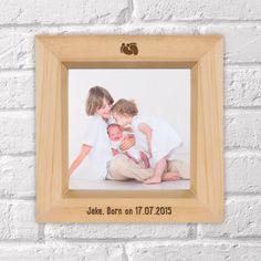 Engraved Wooden Box Photo Frame - Foot Prints Design